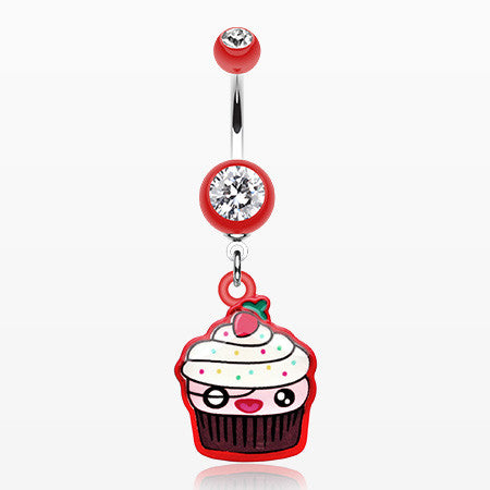 Betty Cupcake Belly Button Ring-Red