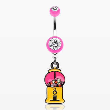 Gumball Candy Machine Belly Button Ring-Pink