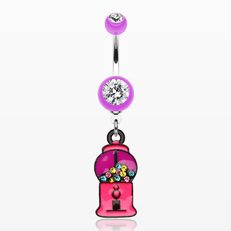 Gumball Candy Machine Belly Button Ring-Purple