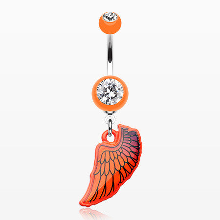 Bright Angel Wing Belly Button Ring-Orange