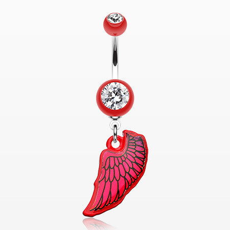 Bright Angel Wing Belly Button Ring-Red