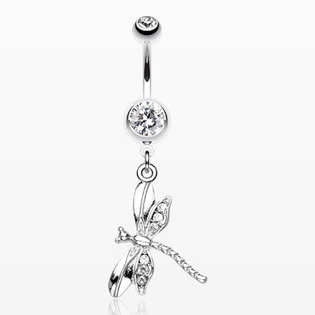 Dragonfly Wing Sparkle Belly Ring-Clear