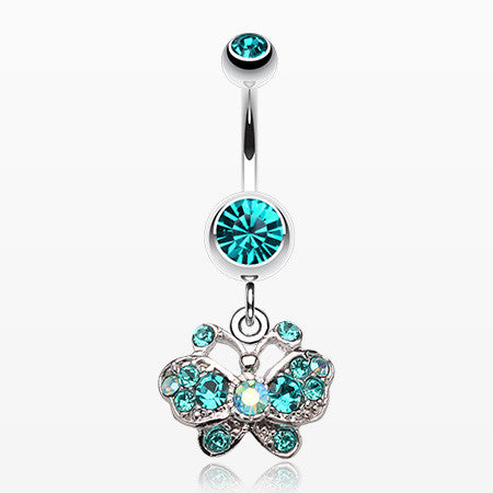 Charming Butterfly Belly Ring-Teal