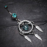 Heart Hoop Feather Dream Catcher Belly Ring-Teal