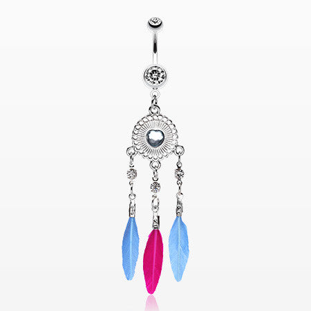 Heart Shield Chic Dream Catcher Belly Ring-Clear
