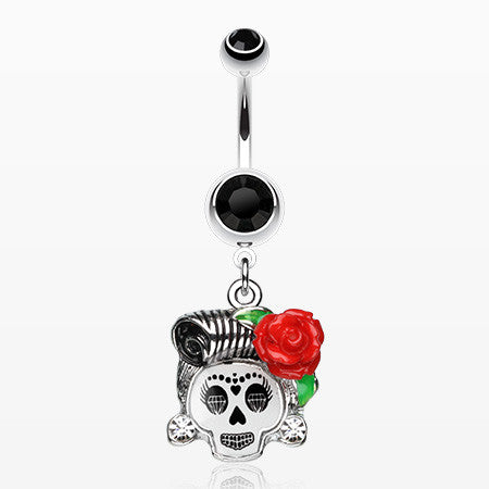 Dolled Up Sugar Skull Belly Ring-Black