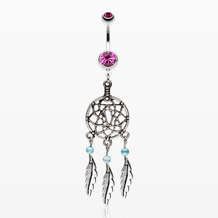 Classic Pewter Dream Catcher Belly Ring-Fuchsia
