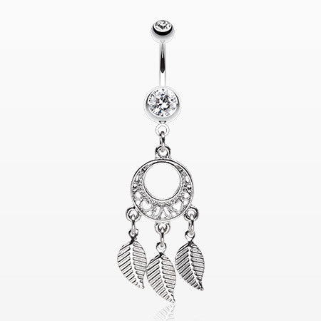 Petit Heart Hoop Dream Catcher Belly Ring-Clear