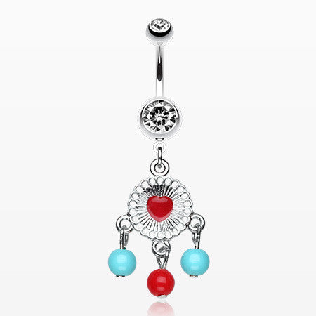 Colorful Heart Dream Catcher Belly Ring-Clear