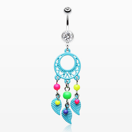 Enchanted Loop Dream Catcher Belly Ring-Aqua