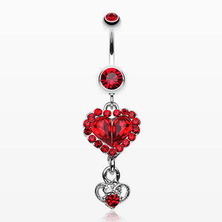 Crystal Heart in Heart Belly Ring-Red
