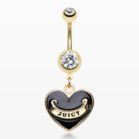 Gold Juicy Banner Heart Belly Ring-Black