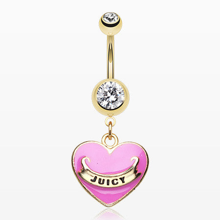 Gold Juicy Banner Heart Belly Ring-Pink