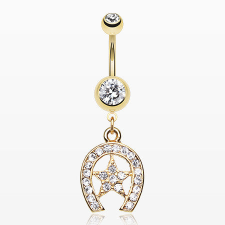 Golden Star Lucky Horseshoe Belly Ring-Clear