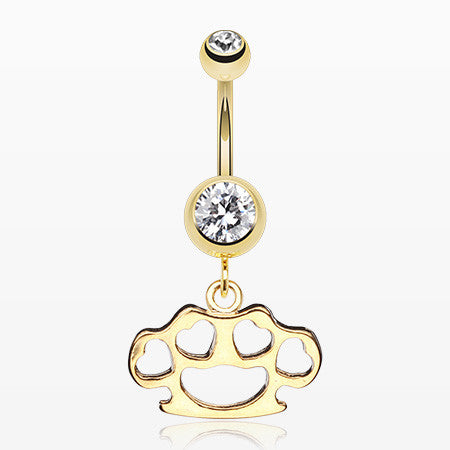 Golden Heart Brass Knuckle Belly Ring-Clear