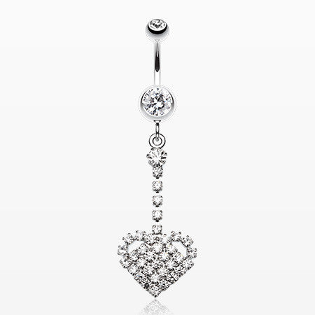 Journey Heart Sparkle Belly Ring-Clear