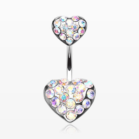 Brilliant Double Hearts Belly Ring-Aurora Borealis