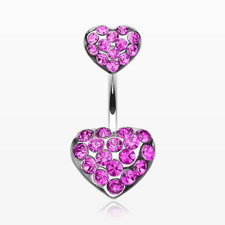Brilliant Double Hearts Belly Ring-Fuchsia