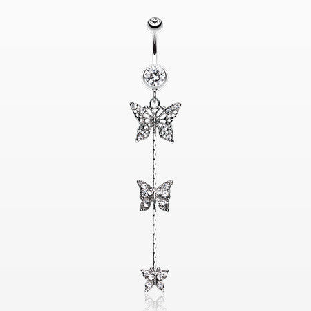 Triple Butterfly Sparkle Belly Ring-Clear