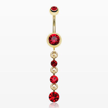 Golden Journey Sparkle Belly Ring-Red
