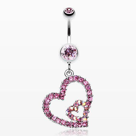 Precious Hearts Sparkle Belly Ring-Light Pink