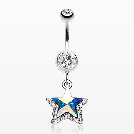 Crystal Star Prism Belly Ring-Clear