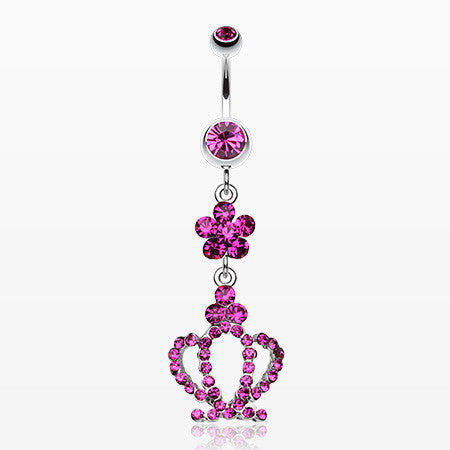Flower Crown Sparkle Belly Ring-Fuchsia