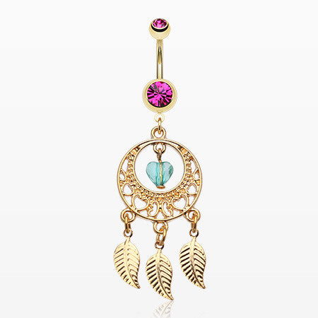 Golden Heart Dream Catcher Belly Ring-Fuchsia