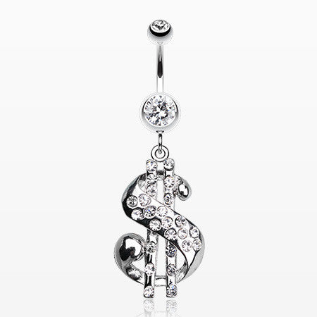Dollar Sign Symbol Belly Ring-Clear