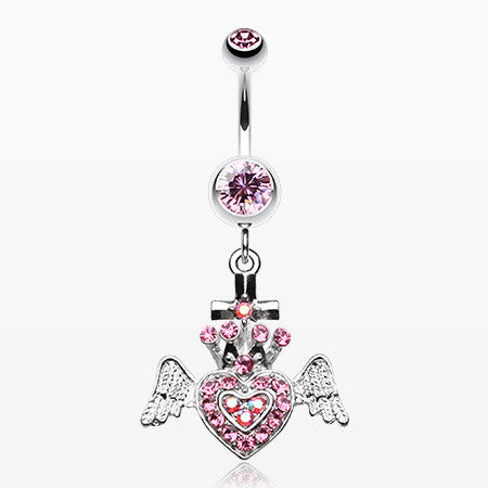 Ultra Bright Crowned Angel Heart and Cross Belly Button Ring-Light Pink