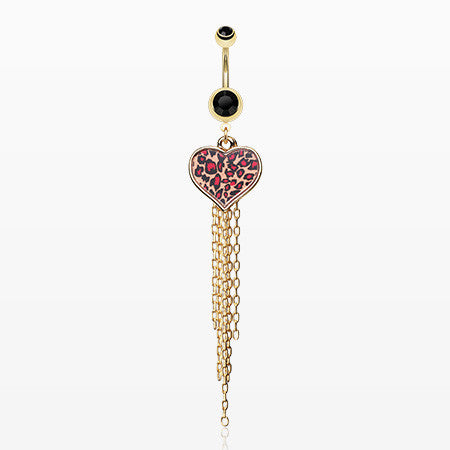 Golden Leopard Heart Tassel Belly Ring-Black