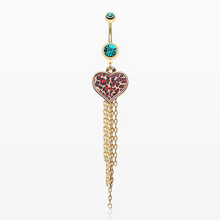 Golden Leopard Heart Tassel Belly Ring-Teal