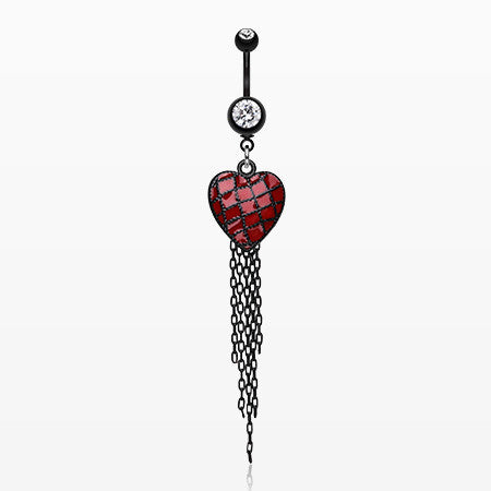 Blackline Red Heart Chain Tassel Belly Ring-Clear