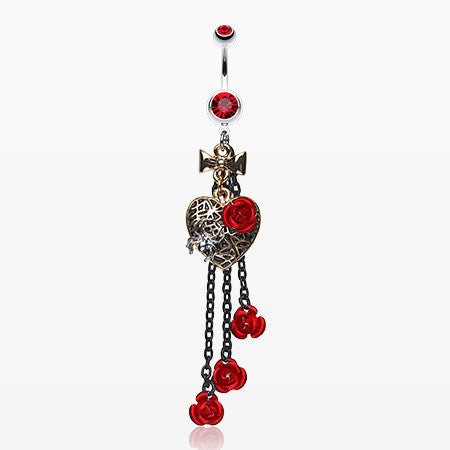 Gothic Chic Golden Heart Metal Rose Belly Ring-Red