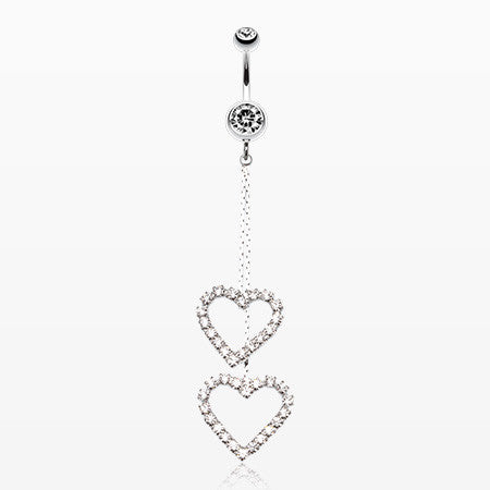 Shimmering Heart Flow Belly Ring-Clear