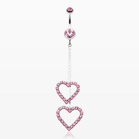 Shimmering Heart Flow Belly Ring-Light Pink