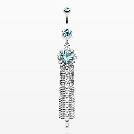 Chandelier Bead Chain Sparkle Belly Ring-Aqua