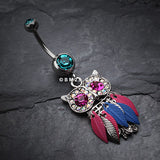 Vibrant Owl Feather Sparkle Belly Ring-Teal