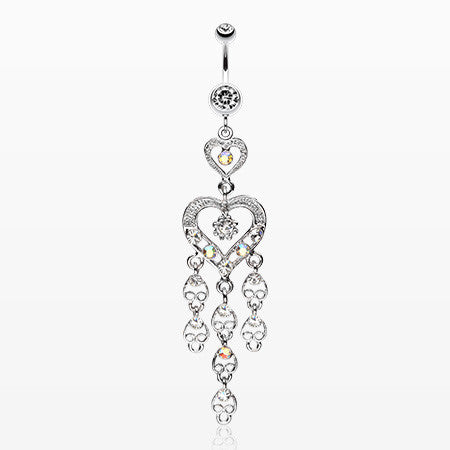 Heart Chandelier Belly Ring-Clear