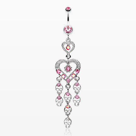 Heart Chandelier Belly Ring-Light Pink