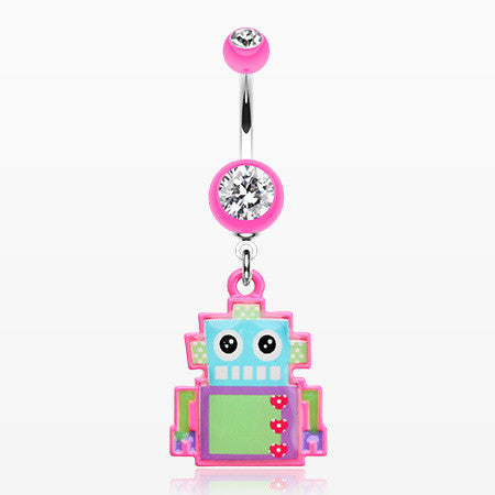 Lillibot Robot Belly Button Ring-Pink