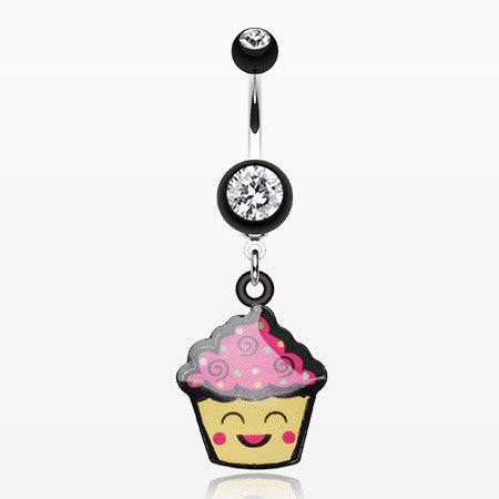 Cute Cupcake Chan Belly Button Ring-Black