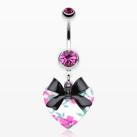 Vintage Floral Heart Bow-Tie Belly Button Ring-Fuchsia