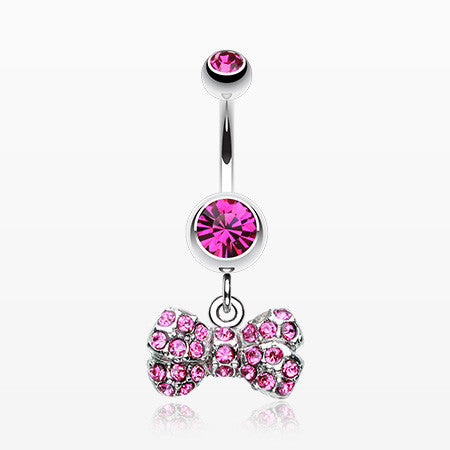 Dainty Bow-Tie Belly Button Ring-Fuchsia