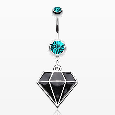 Urban Diamond Steel Belly Button Ring-Teal/Black