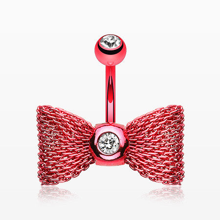 Colorline Mesh Bow-Tie Belly Button Ring-Red/Clear