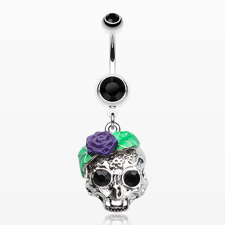 Rose Ornate Sugar Skull Belly Button Ring-Black