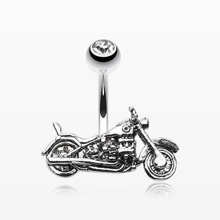 Biker Chopper Steel Belly Button Ring-Clear