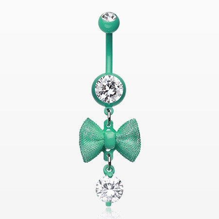 Mint Dainty Bow-Tie Belly Button Ring-Mint Green/Clear