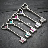 Heart Key Nipple Barbell Ring-Teal